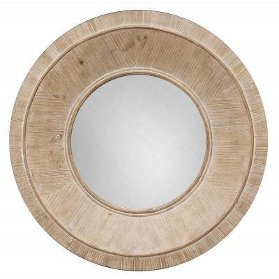 DRUMAND Light Brown Round Wood  - Miroir