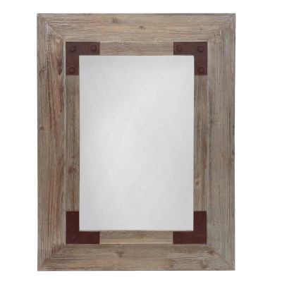 STOVES Light Brown Rectangular Wood  - Miroir