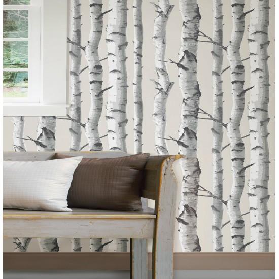 bouleau gris nuwallpaper autocollant. Black Bedroom Furniture Sets. Home Design Ideas