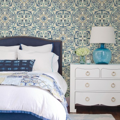 BLUE FLORENTINE TILE - NuWallpaper