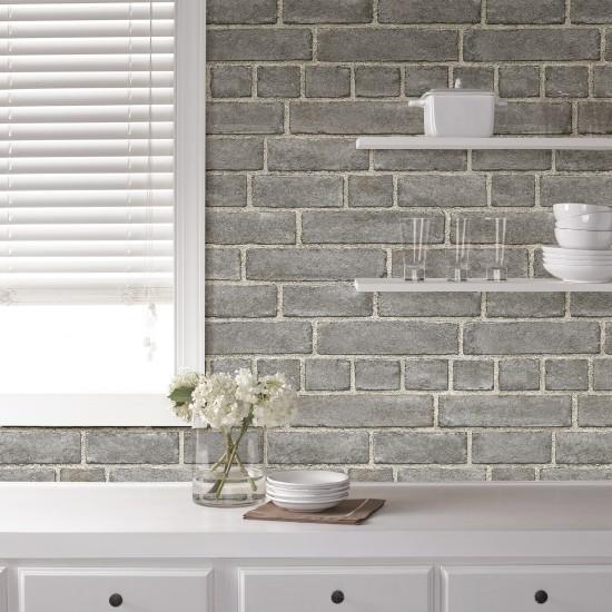 fa ade de brique nuwallpaper autocollant. Black Bedroom Furniture Sets. Home Design Ideas