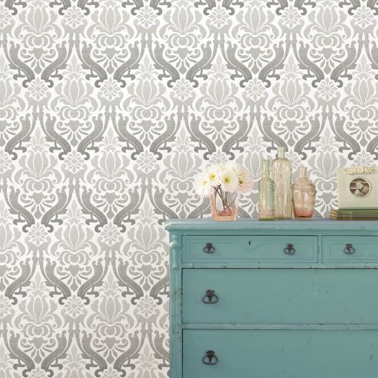 damass gris nuwallpaper autocollant. Black Bedroom Furniture Sets. Home Design Ideas