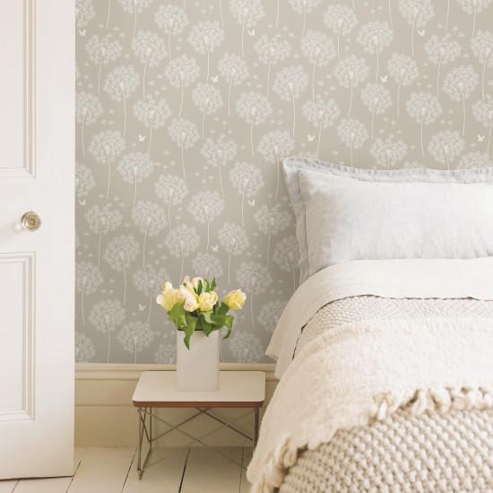 dandelion taupe nuwallpaper autocollant. Black Bedroom Furniture Sets. Home Design Ideas