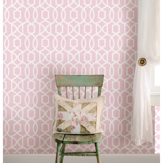 grand treillis rose nuwallpaper autocollant. Black Bedroom Furniture Sets. Home Design Ideas