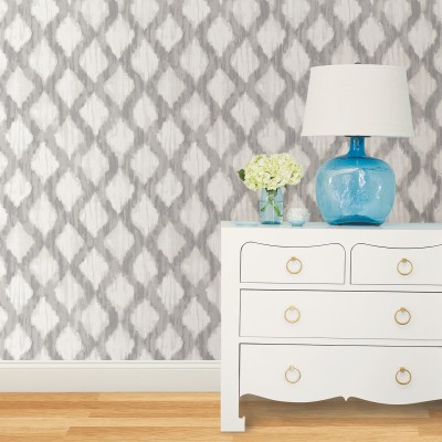 GREY FLOATING TRELLIS - NuWallpaper