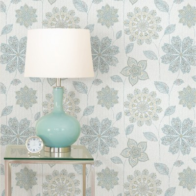 GYPSY FLORAL BLUE/GREEN - NuWallpaper