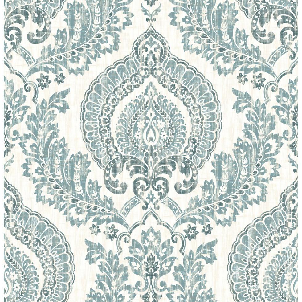 kensington damass bleu nuwallpaper autocollant. Black Bedroom Furniture Sets. Home Design Ideas