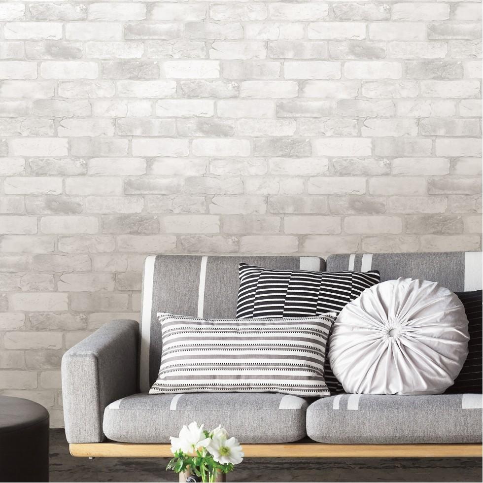loft brique blanche nuwallpaper autocollant. Black Bedroom Furniture Sets. Home Design Ideas