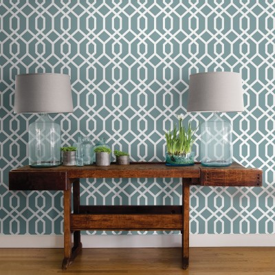 MONTAUK LATTICE HEMLOCK BLUE - NuWallpaper