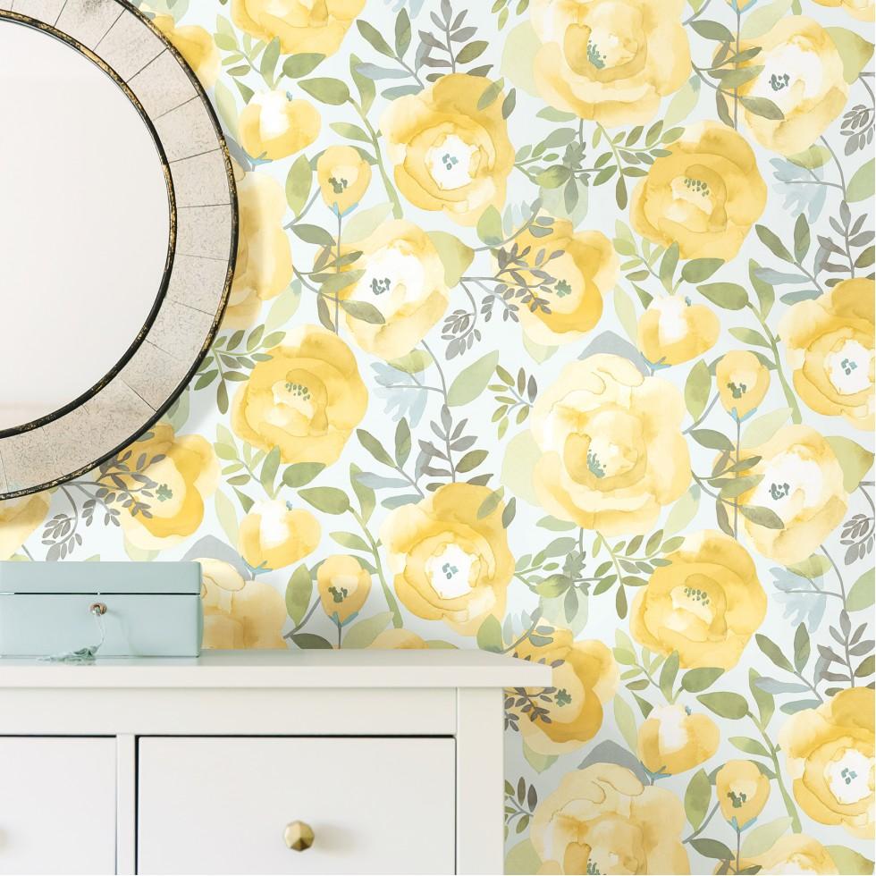 Papier Peint Jaune Moutarde peachy keen jaune - nuwallpaper - autocollant