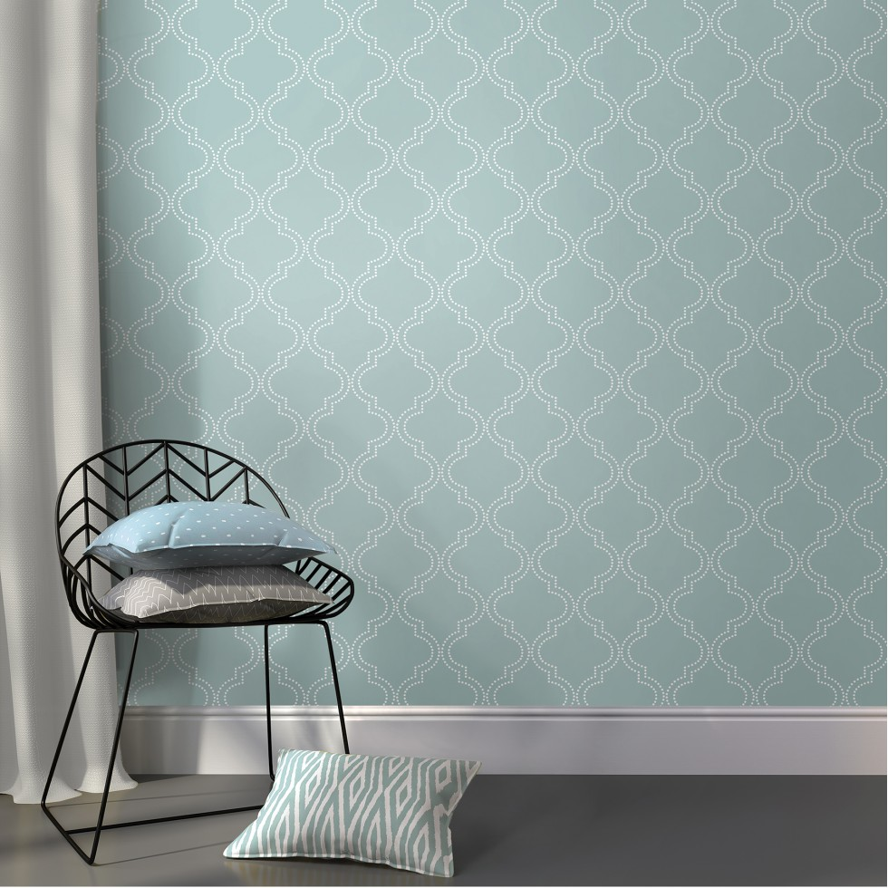 quatrefoil bleu ardoise nuwallpaper autocollant. Black Bedroom Furniture Sets. Home Design Ideas