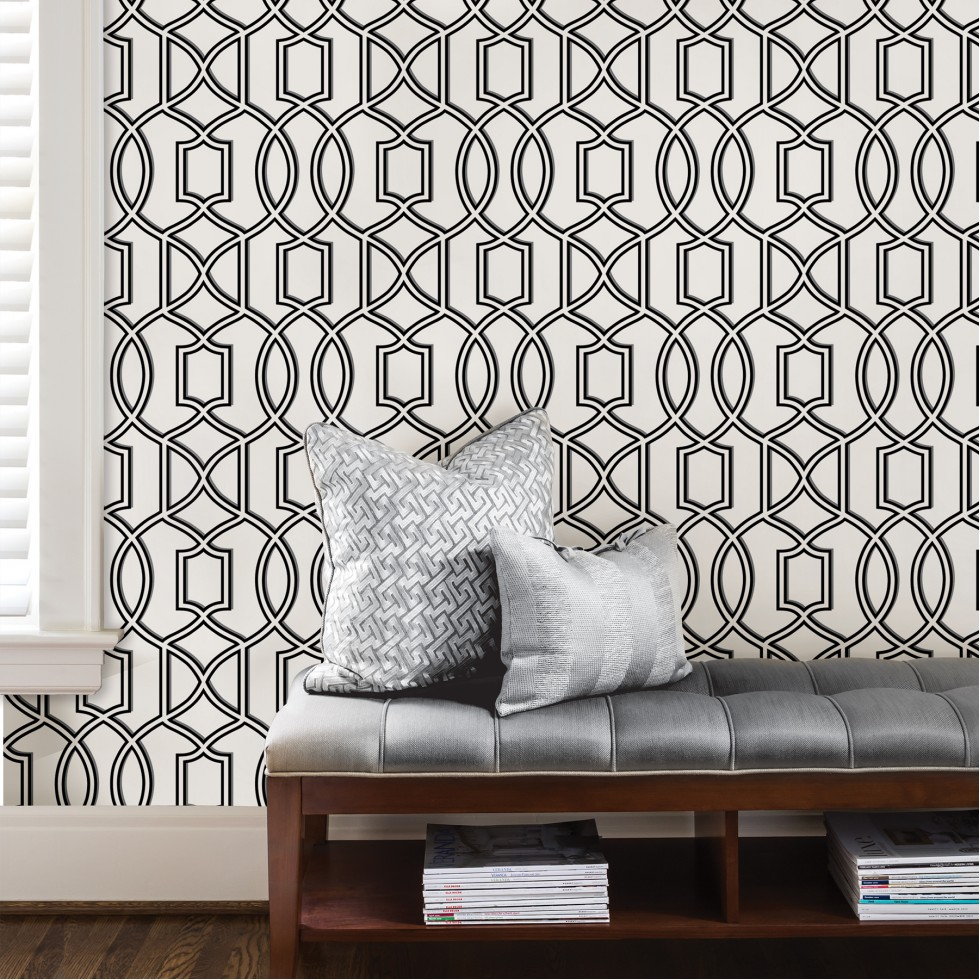 uptown trellis black white nuwallpaper autocollant. Black Bedroom Furniture Sets. Home Design Ideas