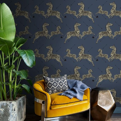 DENIM ZEBRA SAFARI SCALAMANDRE - Nuwallpaper - Papier Peint Autocollant